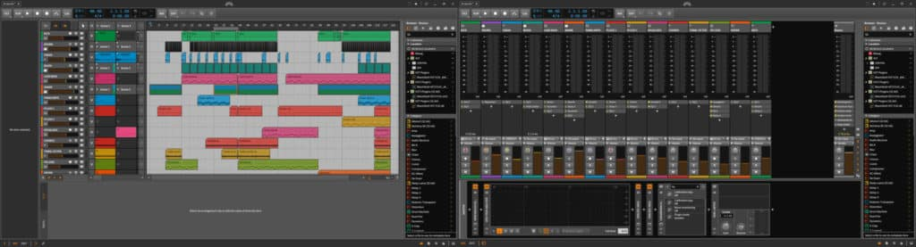 Interface studio double écran de Bitwig, projet Le secret.