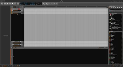 Interface du mode arrangement de Bitwig Studio 2.2